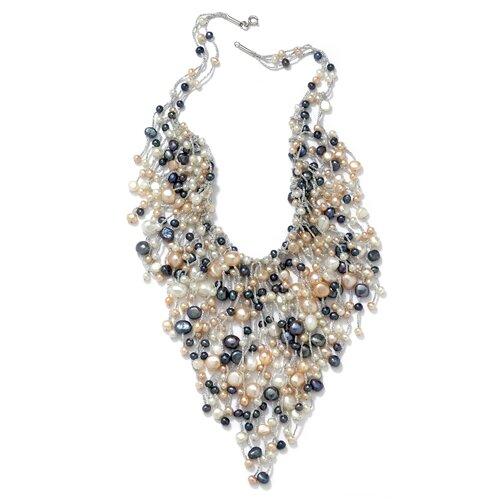 Palm Beach Jewelry Sterling Silver Multi Colored Pearl Bib Necklace