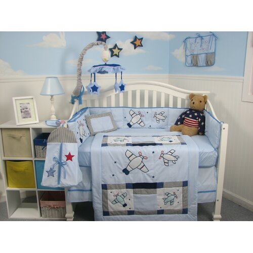 Soho designs 13 piece airplane baby crib nursery bedding set babyairplane - Airplane baby bedding sets ...