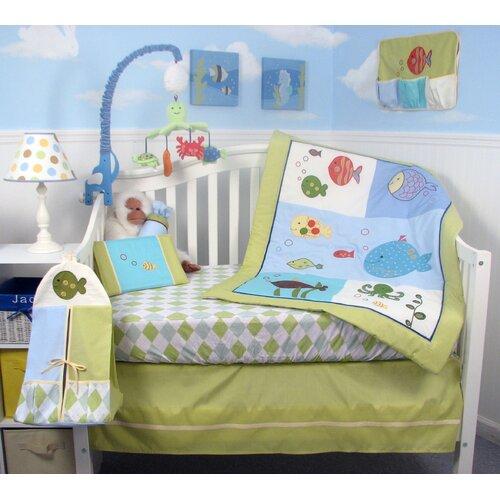 Soho designs gold fish aquarium baby 14 piece crib nursery for Fishing baby bedding