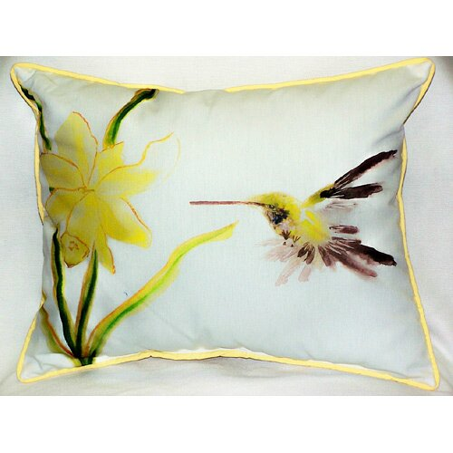 Betsy Drake Interiors Garden Yellow Hummingbird Indoor Outdoor Pillow