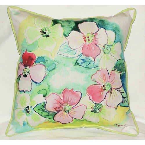 Betsy Drake Interiors Garden Flower Wreath Indoor Outdoor Pillow