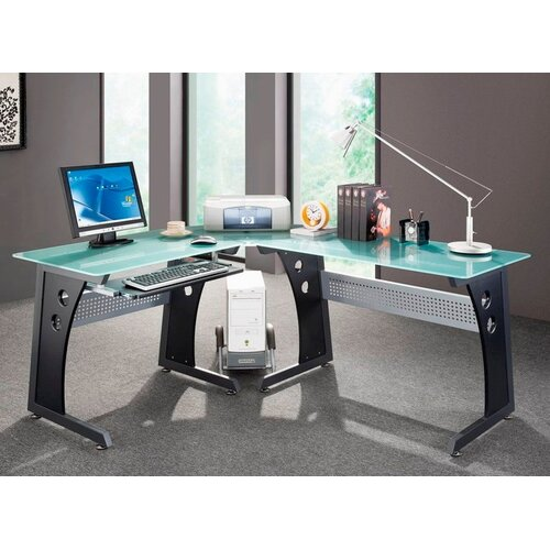 Mobili graphite amp frosted glass l shaped computer desk with cpu caddy