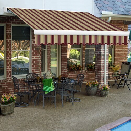 AWNTECH Key West Full-Cassette Awning - Size: 16' W x 10' Projection, Color: Burgundy / Tan Multi, Motor Orientation: Left Side at Sears.com
