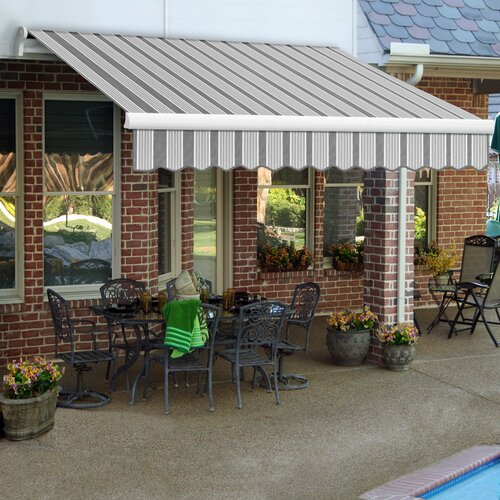 AWNTECH LX-Maui Awning - Size: 18' W x 10' Projection, Color: Gun / Gray, Motor Orientation: Right Side
