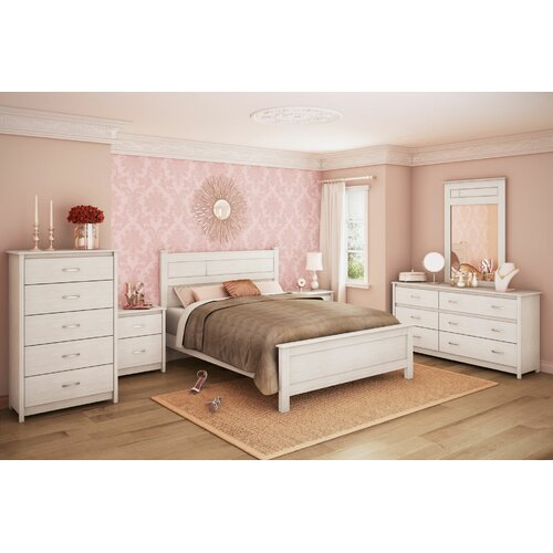 south shore vendome queen bedroom set in distressed white