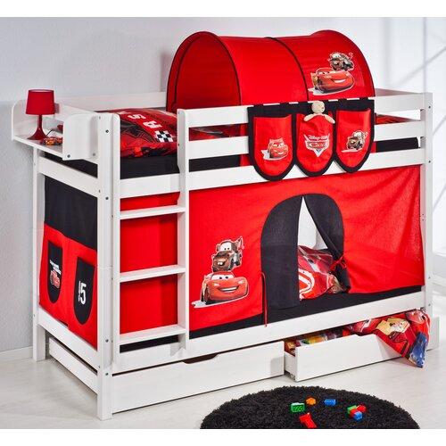 Etagenbett Disney's Cars mit Schubladen und Hochbettvorhang 90cm x 200cm | Kinderzimmer > Kinderbetten > Etagenbetten | White | Holz | Lilokids