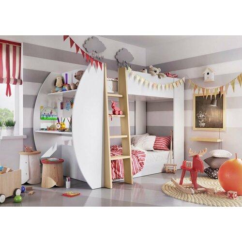 Etagenbett Gail Cabin 90 x 200 cm | Kinderzimmer > Kinderbetten > Etagenbetten | White | Spanplatte | Harriet Bee