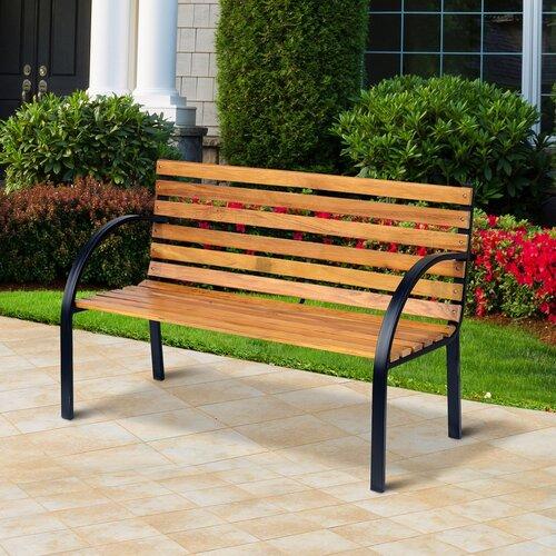 Gartenbank Nico aus Holz und Stahl | Garten > Gartenmöbel > Gartenbänke | Naturalblackbrown | Rattan - Polyester | Lynton Garden