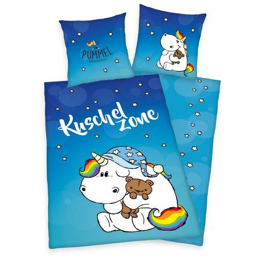 Renforcé-Kinderbettwäsche Pummeleinhorn | Kinderzimmer > Textilien für Kinder > Kinderbettwäsche | Blue | Baumwolle | Herding Heimtextil