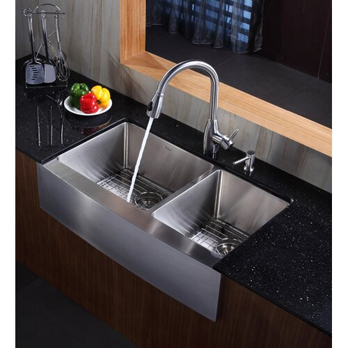 Kraus Farmhouse 36 70 30 Double Bowl Kitchen Sink With Faucet And On