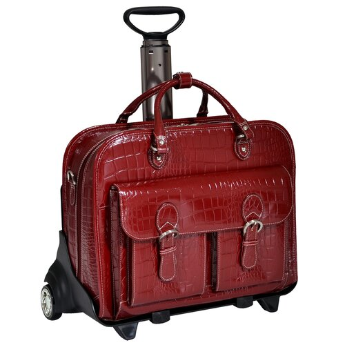Siamod San Martino Ladies Leather Detachable Wheeled Laptop Case Red Cherry