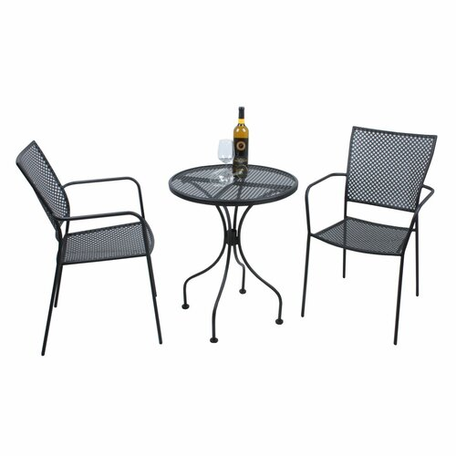 2-Sitzer Balkonset | Garten > Balkon > Balkon-Sets | Black | Metall - Rattan | Caracella