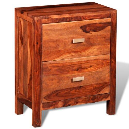 Nachttisch mit 2 Schubladen | Schlafzimmer > Nachttische | Brown | Sheesham - Holz - Massivholz | dCor design