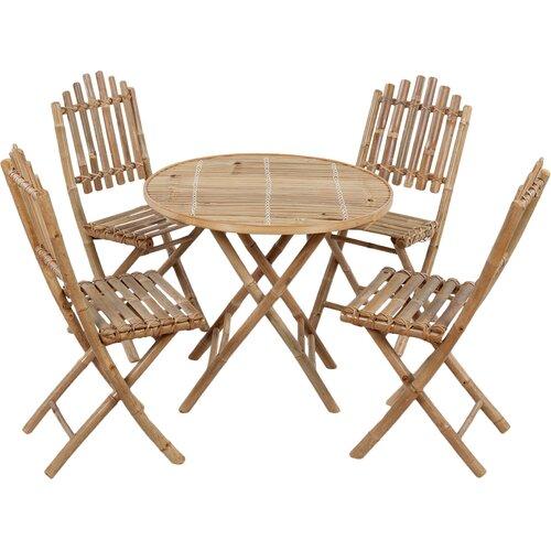 4-Sitzer Gartengarnitur   Garten > Gartenmöbel > Gartenmöbel-Set   Naturalbrown   Bambus - Holz - Teilmassiv - Rattan - Polyester   dCor design