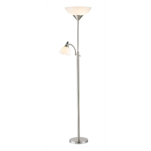 details about adesso piedmont torchiere floor lamp with reading light. Black Bedroom Furniture Sets. Home Design Ideas