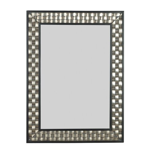 Kenroy Home Checker Wall Mirror in Brushed Silver with Black Accents