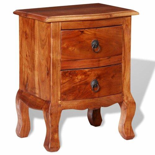 Nachttisch Marilla mit 2 Schubladen | Schlafzimmer > Nachttische | Braun | Poliert | Marlow Home Co.