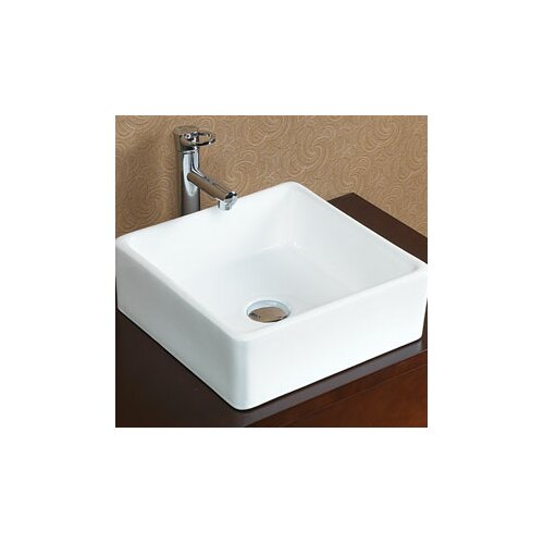 Square Vessel Bathroom Sink : Ronbow Square Tapered Ceramic Vessel Bathroom Sink without Overflow ...