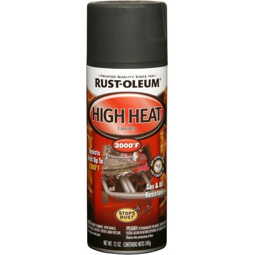 12 oz Flat Black High Heat Automotive Spray Paint 248903 Set of 6