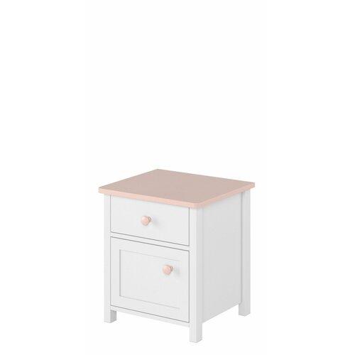 Nachttisch Herlufsholm mit Schublade | Schlafzimmer > Nachttische | Pinkweiß | Harriet Bee