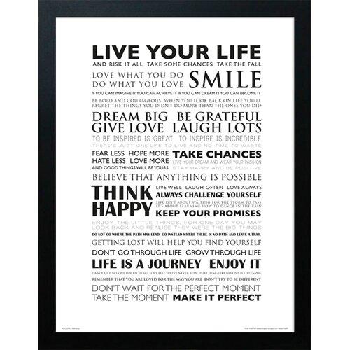 Gerahmtes Poster Live Your Life   Dekoration > Bilder und Rahmen > Poster   Weiß   Home Loft Concept