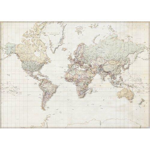 Poster Weltkarte   Dekoration > Bilder und Rahmen > Poster   Beigetan   Papier   East Urban Home