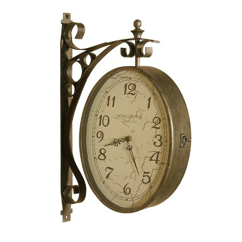 Uttermost malvina dual sided hanging wall clock on popscreen for Dual time wall clock