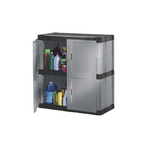 Double Door Cabinet Storage: Rubbermaid Double-Door Storage Cabinet -Base In Gray