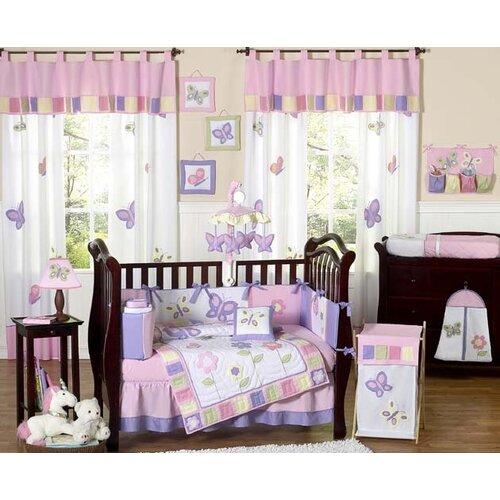 Sweet JoJo Designs Butterfly Pink Purple 9 Piece Crib Bedding Set