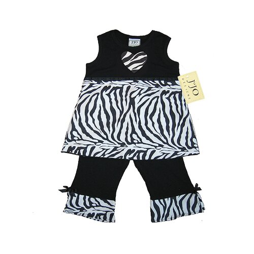 Baby Girls 2 Pieces Zebra Print Outfit with Short Sleeve in Black and White