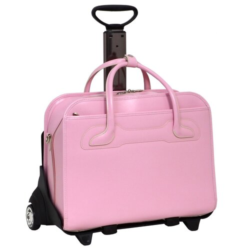 Pink Leather 2-in-1 Removable-Wheeled Women's Briefcase Total wt. 10lbs