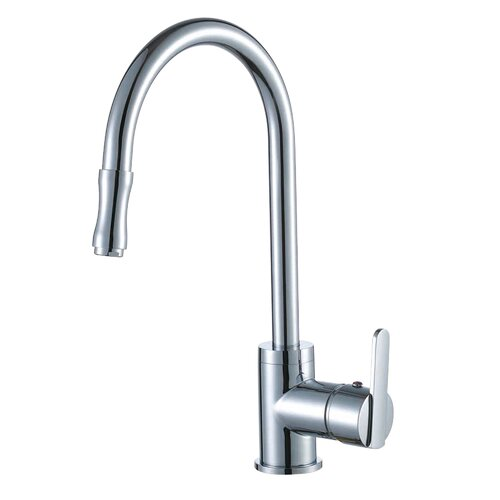 Yosemite Home Decor Single Handle Single Hole Kitchen Faucet with Pull