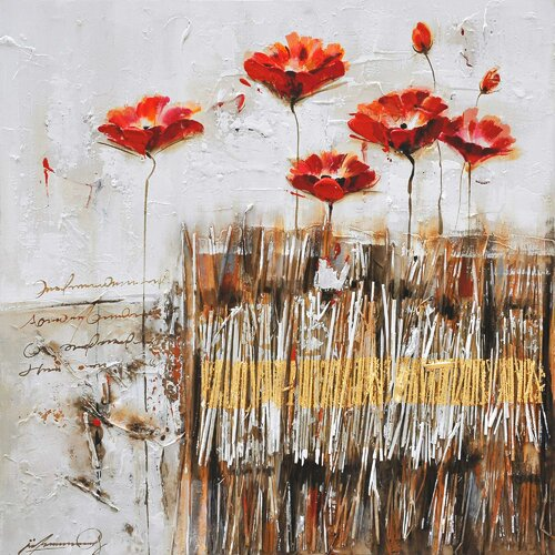 Yosemite Home Decor Poppies in the Field Red II Canvas Art   FCB4516