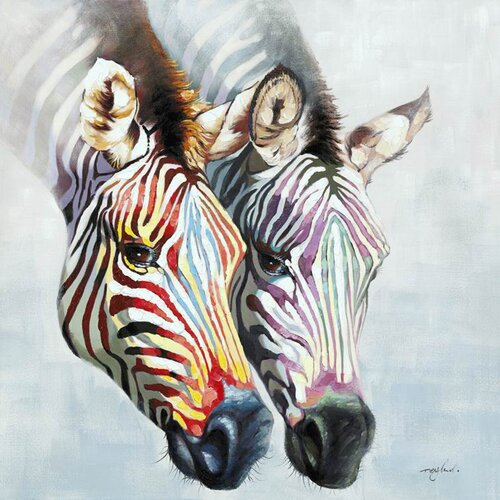 Yosemite Home Decor Zebras in Color Hand Painted Wall Art