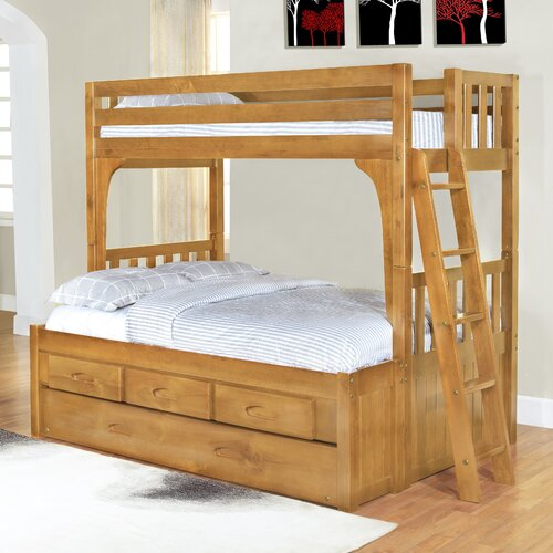 convertible twin over full three drawer bunk bed with trundle bed ebay. Black Bedroom Furniture Sets. Home Design Ideas