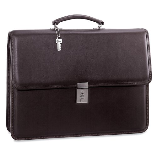 Jack Georges Platinum Single Gusset Flap Briefcase with Combination Lock