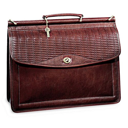 Jack Georges Tuscany Single Gusset Wood Dowel Flap Over Briefcase