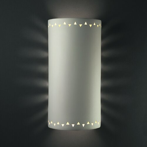 Justice Design Group Sun Dagger Open Top and Bottom Extra Large Cylinder Outdoor Wall Sconce - Finish: White Crackle, Cutout Option: Pelican at Sears.com