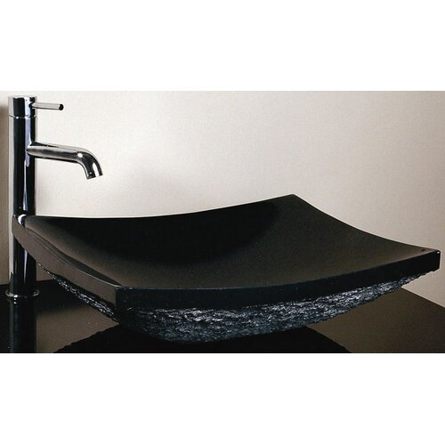 Xylem Rectangular Stone Vessel Sink with Rough Exterior in Black