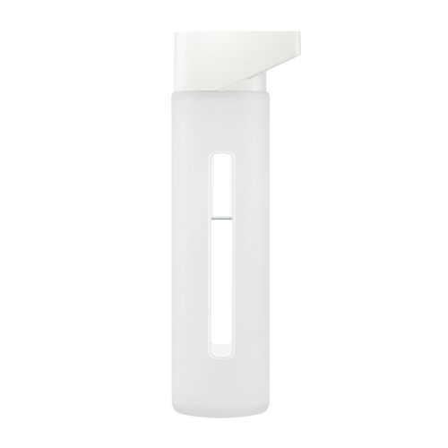 Takeya 16 Oz Modern Glass Water Bottle with White Lid and Jacket in
