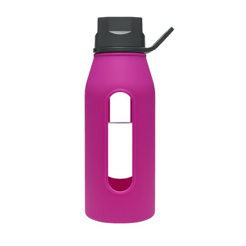 Takeya 16 Oz Classic Glass Water Bottle with Black Lid and Jacket in