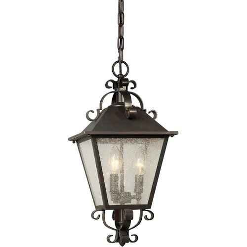 Forte Lighting Three Light Outdoor Hanging Pendant in Antique Bronze