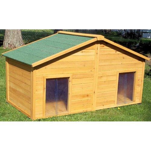 Premium pet duplex cedar dog house ss7100 ebay for Large duplex dog house