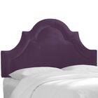 Kyler Arched Border California King Upholstered Panel Headboard Color: Aubergine, Size: Queen