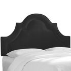 Kyler Arched Border California King Upholstered Panel Headboard Color: Black, Size: Twin