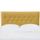 Aoife Button Tufted California King Upholstered Panel Headboard Color: Mustard, Size: Queen