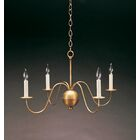Sockets S-Arms Hanging 4-Light Chandelier Finish: Verdi Gris