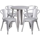 Cordele Metal Indoor/Outdoor 5 Piece Dining Set Finish: Silver, Table Size: 29