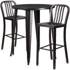 Avera 3 Piece Bar Height Dining Set Finish: Black/Antique Gold