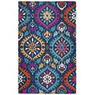 Duron Hand-Tufted Wool Navy/Pink Area Rug Rug Size: Rectangle 8' x 10'